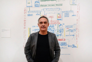 Ferran Adria in front of his drawing of the creative process.